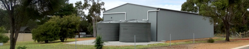 Combo deal-2 x 27,000L water tanks-grey-plumbed into shed