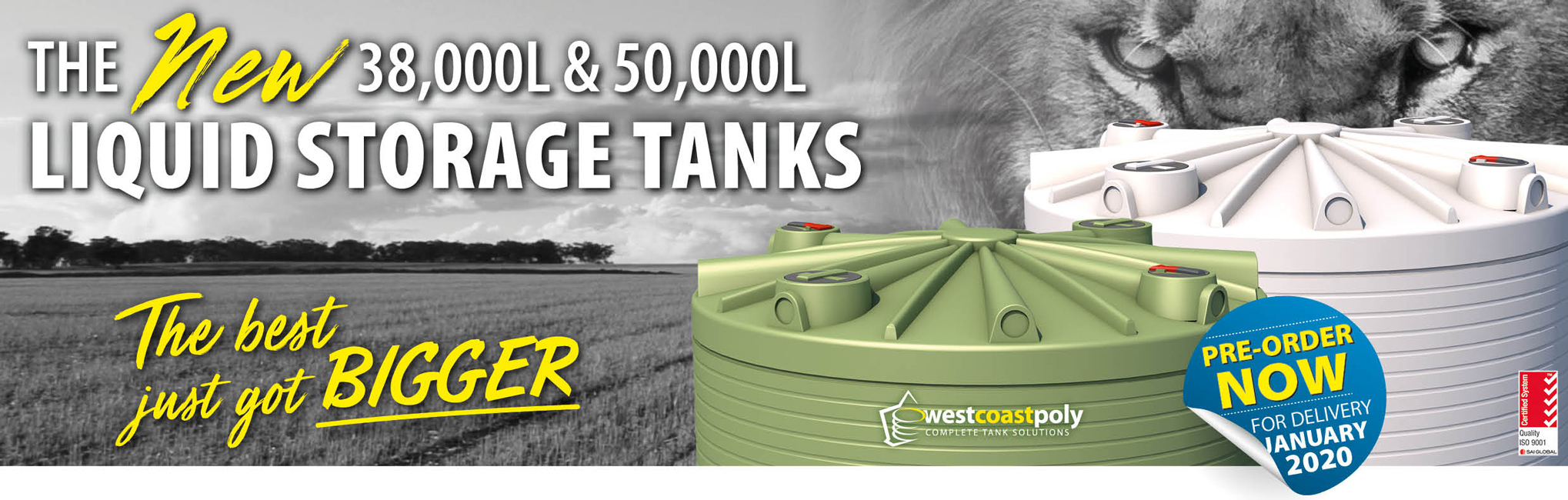 NEW 38,000L and 50,000L Liquid Storage Tanks - Water Storage - Liquid Fertiliser - Pre-order Now!