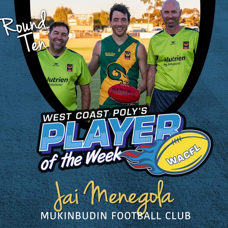 Jai Menegola - Mukinbudin Football Club - West Coast Poly - Player of the Week - Round 10